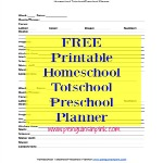 Homeschool Totschool Preschool Planner Free Printable - A simple free PDF homeschool planner that is perfect for totschool or preschool. The planner printable could also be used for kindergarten.