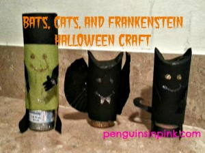 Bats, Cats, and Frankenstein Halloween Craft using toilet paper rolls, construction paper, and glitter glue to create some cute Halloween decorations.