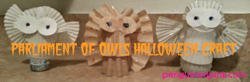 Parliament Of Owls Halloween Craft using toilet paper rolls, coffee filters, cupcake liners, and a few other items to create super cute owls.