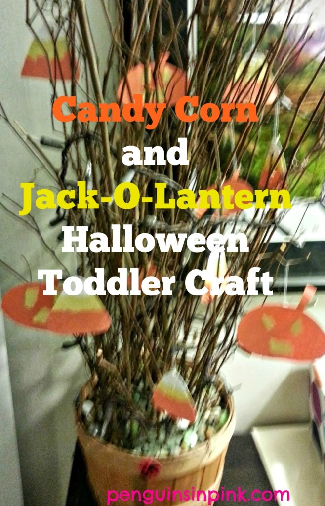 Candy Corn and Jack-O-Lantern Halloween Toddler Craft a fun, simple craft to help toddlers get into the spirit of things and work on fine motor skills at the same time.