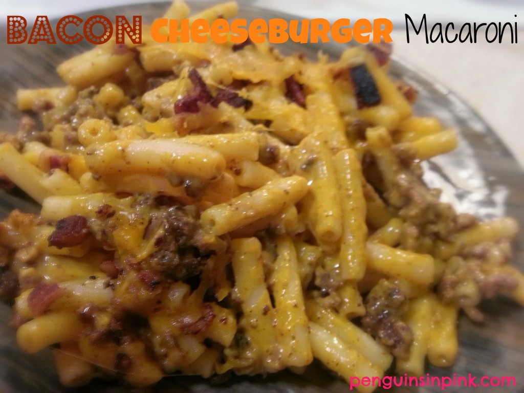 "Bacon Cheeseburger Macaroni - A creamy, cheesy, semi-homemade dish that is great for busy nights or when you need some ""lovin' from the oven"""