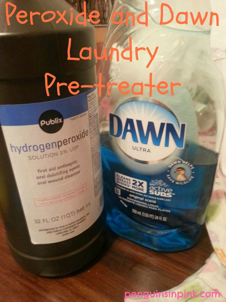 Peroxide and Dawn Laundry Pre-treater - an easy make as you need it laundry and fabric pre-treater
