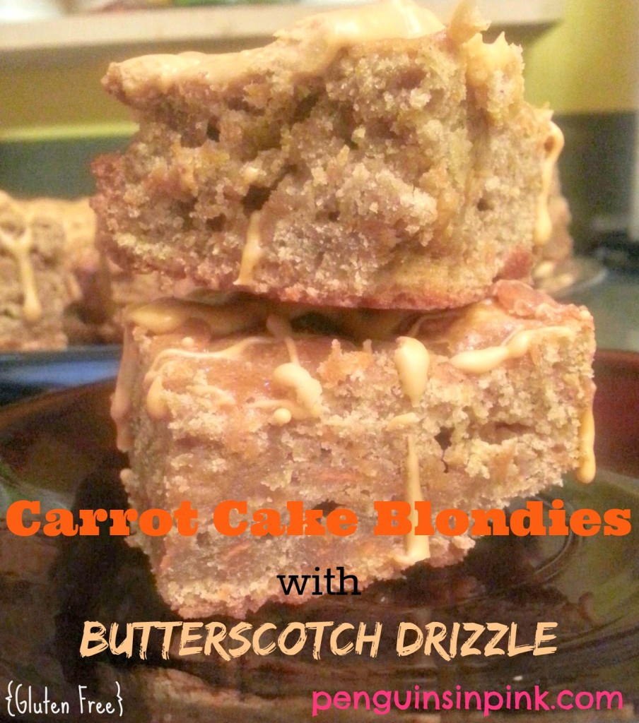 Carrot Cake Blondies with Butterscotch Drizzle (Gluten Free) - The dense texture of brownies with the spicy cinnamon flavor of carrot cake topped with a delightful sweet butterscotch drizzle.