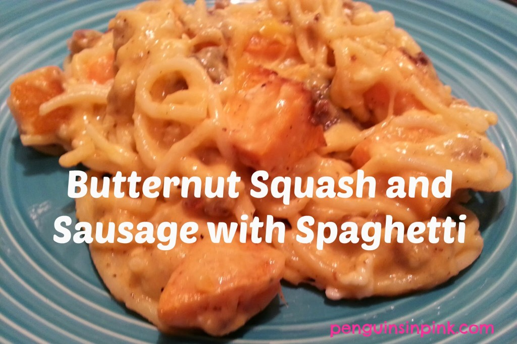 Butternut Squash and Sausage with Spaghetti - A delicious and rich dish filled with savory sausage, roasted butternut squash, and tart white cheddar cheese.