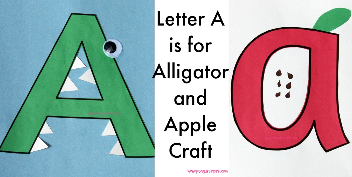 Letter A is for Alligator and Apple Craft A fun craft making an alligator out of a large capital letter A and an apple out of a large lower case letter a with directions and free printables too.