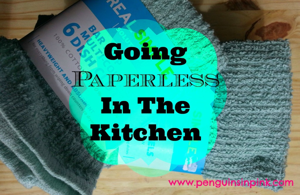 Going Paperless In The Kitchen - Reducing household expenses in the kitchen by getting rid of unnecessary paper product purchases and instead using reusable products like dish towels and napkins in their place.
