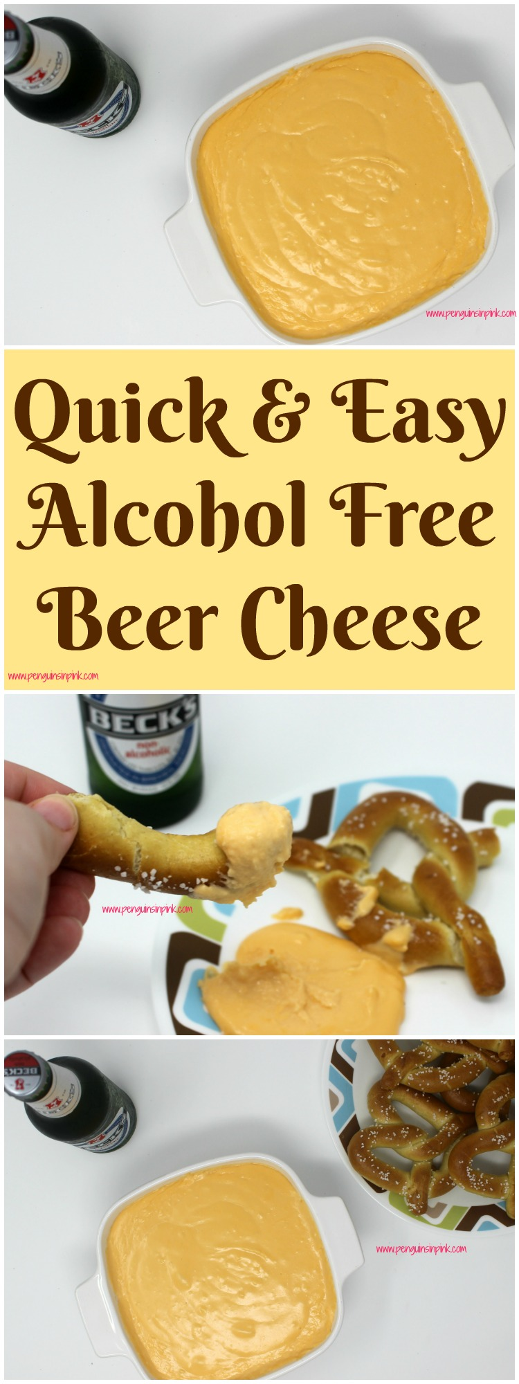 This alcohol free beer cheese is an almost effortless, mouthwatering, three cheese appetizer. Perfect for dipping with pretzels and celebrating Oktoberfest!