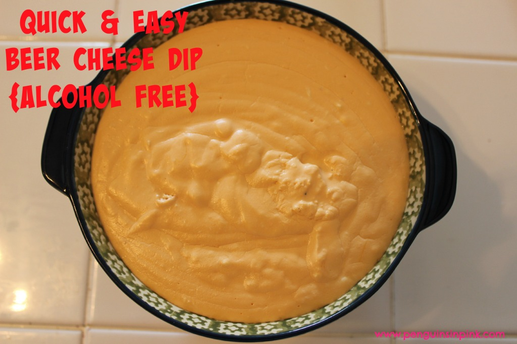 Quick & Easy Beer Cheese Dip {Alcohol Free} - This is an almost effortless, mouthwatering, three cheese appetizer.  Perfect for dipping with pretzels.