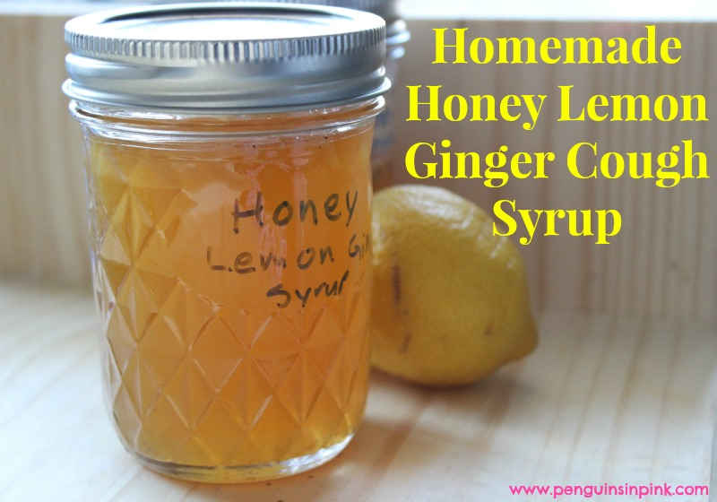 Homemade Honey Lemon Ginger Cough Syrup - This cough syrup works wonders on all kinds of coughs.  Packed with honey, lemons, and ginger to help coat and soothe the throat while reducing inflammation and suppressing the cough.  Unlike most store bought medicine, this syrup has a great taste that is not full of dyes, chemicals, and other junk.  My kids never fight over having to take homemade honey lemon ginger cough syrup.