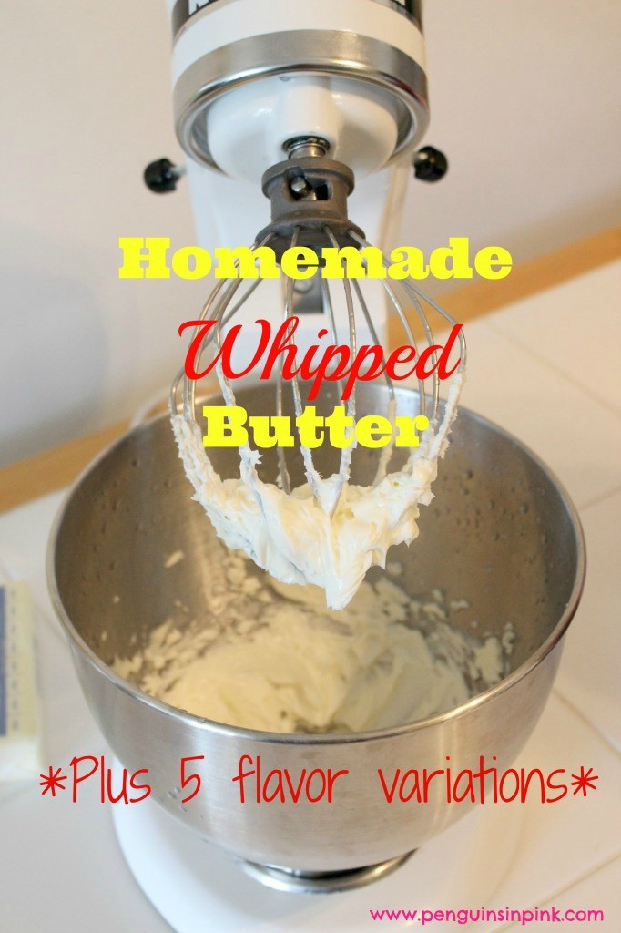 Homemade Whipped Butter - A basic whipped butter recipe plus our 5 favorite mix-ins to add flavor, dimension, and variation to your regular butter. Bonus, stretching a stick of butter by whipping it can save you a bit of money. #recipe