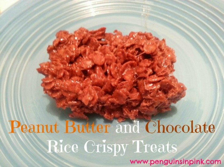 Peanut Butter and Chocolate Rice Crispy Treats - Chocolate and creamy peanut butter all blended together with sticky, sweet marshmallows to form the perfect rice crispy treat!