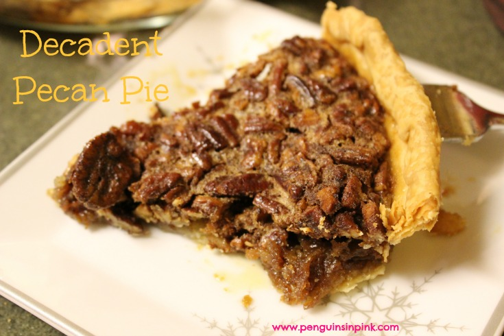 Decadent pecan pie is a traditional holiday pecan pie that is super sweet, very rich, and full of two sizes of pecan pieces adding more texture to the filling.