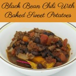 This hearty black bean chili is served over baked sweet potatoes making it the perfect meal for cool fall nights. It's freezer friendly and comes together really quickly.