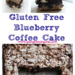Gluten Free Blueberry Coffee Cake - Sweet blueberries, cinnamon, and pecans layered between a crumbly crust. Blueberry coffee cake is perfect for brunches, afternoon teas, or wedding and baby showers. #glutenfree #blueberries #recipe