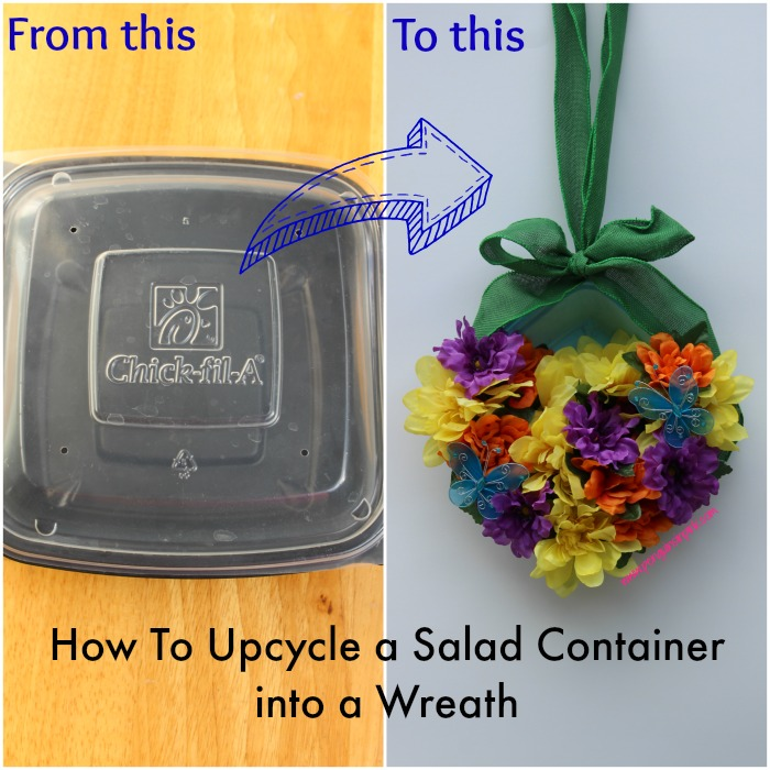How To Upcycle a Salad Container into a Wreath