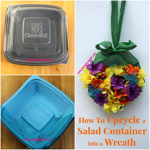 How To Upcycle a Salad Container into a Wreath - Yes! You can turn a salad container into a wreath! Check out this easy tutorial on how to turn a Chick-fil-A salad container into a pretty summer wreath.