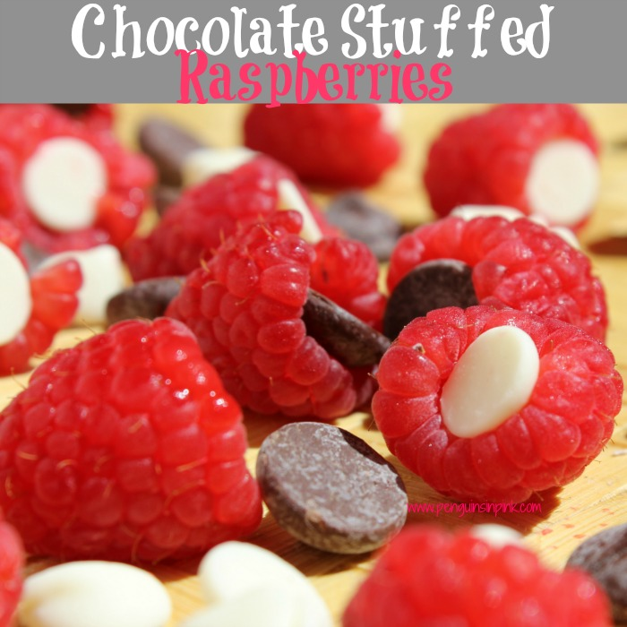 Only two ingredients and less than 5 minutes to make the perfect dessert of sweet raspberries stuffed with decadent chocolate. You'll have to try these Chocolate Stuffed Raspberries.