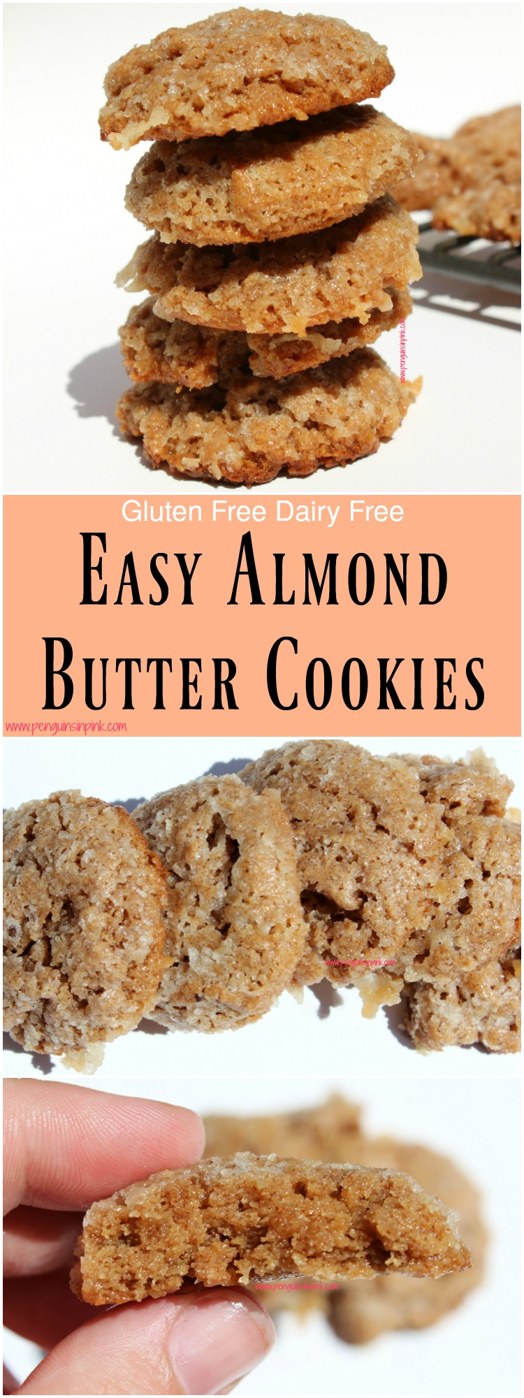 Easy Almond Butter Cookies - I love that these almond butter cookies are gluten free, dairy free, and only contain 3 ingredients! Almond butter cookies are very chewy while still being crispy on the edges.