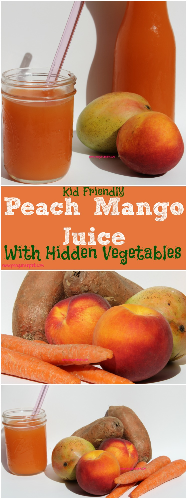 Peach Mango Juice with Hidden Vegetables - 4 wholesome ingredients peaches, mango, sweet potato, and carrots! Such a tasty way to sneak in some veggies for those picky eaters.