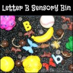 "Letter B Sensory Bin - A fun sensory bin filled with bears, bells, balls, beans, and other items that start with letter ""B"""