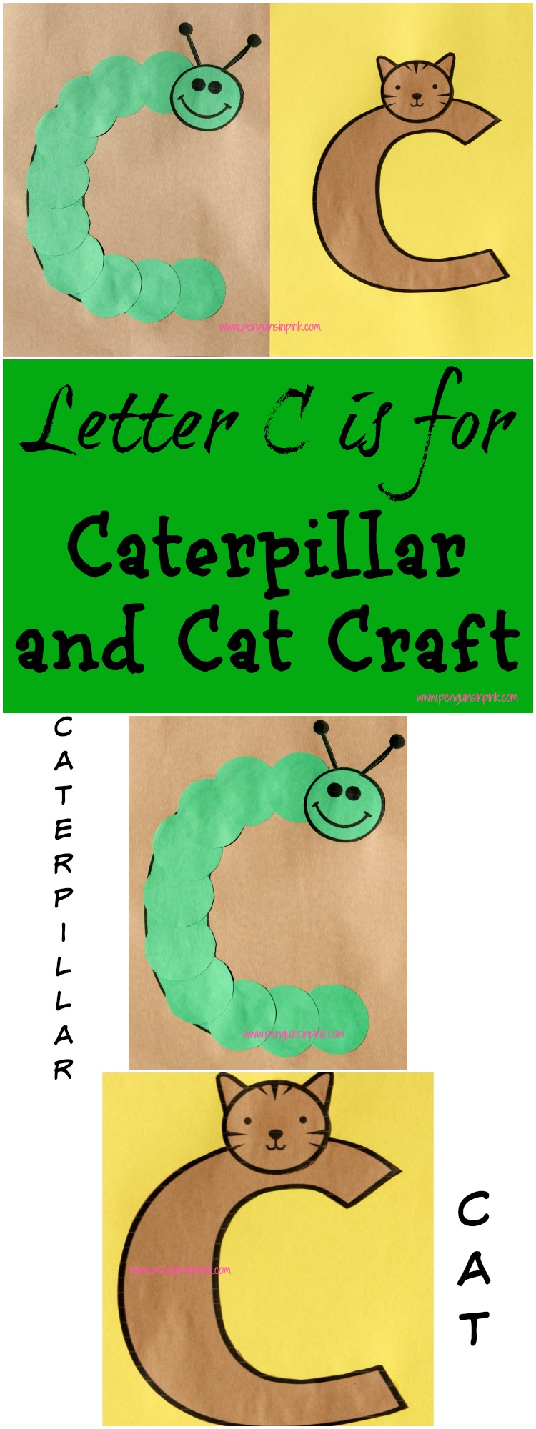 Letter C is for Caterpillar and Cat Craft is a fun letter a craft making a caterpillar out of a large capital letter C and a cat out of a large lower case letter c with directions and free printables too.