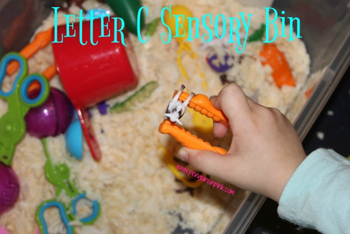 "Letter C Sensory Bin - A fun, edible based sensory bin filled with cats, cows, chickens, camels, caterpillars, and other items beginning with letter ""C""."