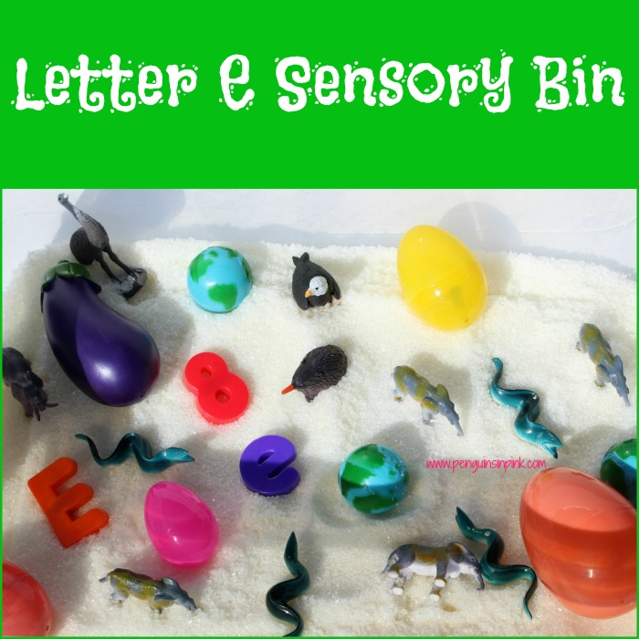 "Letter E Sensory Bin - A fun eucalyptus scented sensory bin filled with elephants, eels, small earths, and other items beginning with letter ""E""."