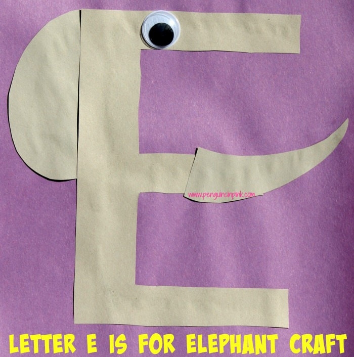 Letter E is for Elephant and Egg Craft is a fun letter a craft making an elephant out of a large capital letter E and an egg out of a large lowercase letter e with directions and free printables too.