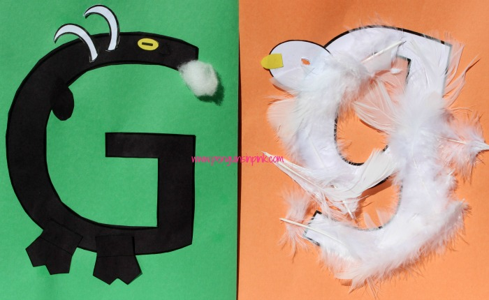 Letter G is for Goat and Goose Craft is a fun letter a craft making a goat out of a large capital letter G and a goose out of a large lowercase letter g with directions and free printables too.