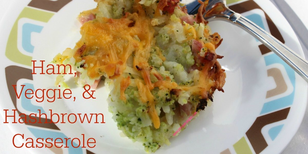 Ham, Veggie, and Hashbrown Casserole Broccoli, cauliflower, hashbrowns, and ham all combine with cheddar cheese to make this easy and hearty Ham, Veggie, and Hashbrown Casserole.