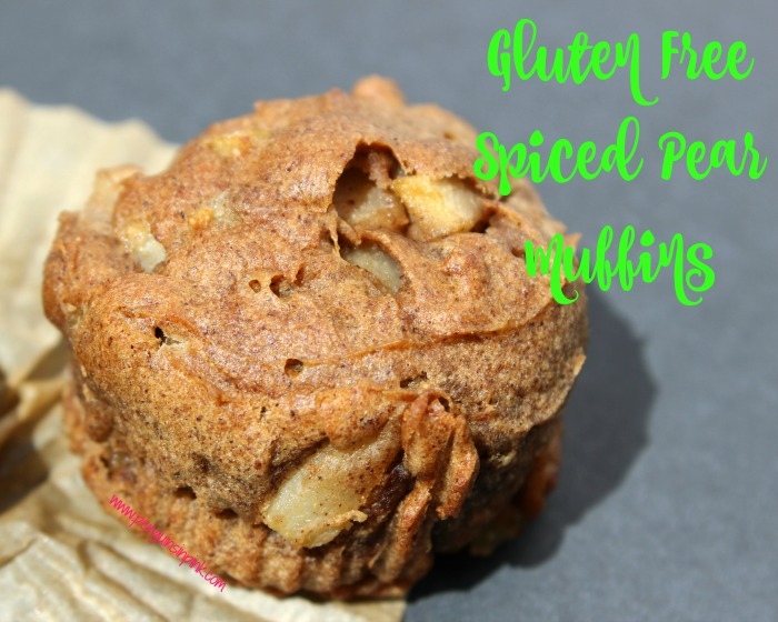 Gluten Free Spiced Pear muffins are bursting with the spiciness of ginger, cinnamon, nutmeg, and cloves with hints of molasses and vanilla.