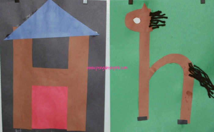 Letter H is for House and Horse Craft is a fun letter a craft making a house out of a large capital letter H and a horse out of a large lowercase letter h with directions and free printables too.