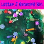 "Letter J Sensory Bin - This messy and edible sensory bin has it all jaguars, jewels, jelly beans , and other items beginning with letter ""J""."