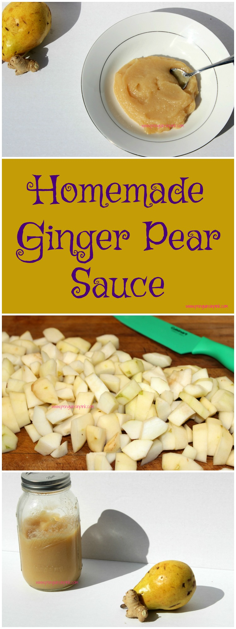 Homemade Ginger Pear Sauce is super easy to make on the stove or in the Crock-pot. Not only is it a delicious snack but it is great for treating upset stomachs.