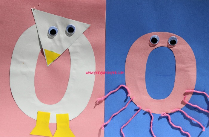 Letter O is for Owl and Octopus Craft is a fun letter a craft making an owl out of a large capital letter O and an octopus out of a large lowercase letter o with directions and free printables too.