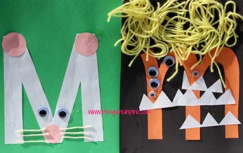 Letter M is for Mouse and Monster Craft is a fun letter a craft making a mouse out of a large capital letter M and a monster out of a large lowercase letter m with directions and free printables too.