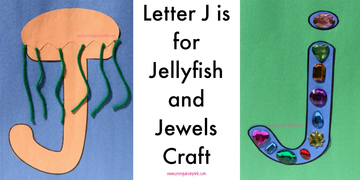 Letter J is for Jellyfish and Jewels Craft is a fun letter a craft making a jellyfish out of a large capital letter J and a jewel encrusted large lowercase letter j with directions and free printables too.