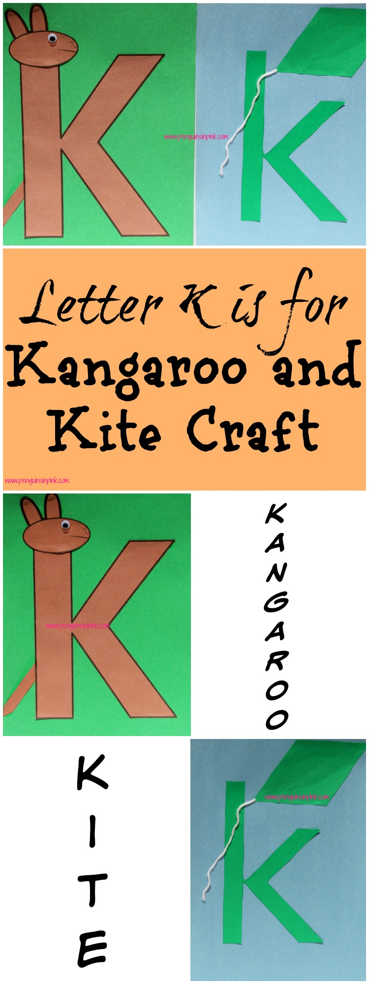 Letter K is for Kangaroo and Kite Craft is a fun letter a craft making a kangaroo out of a large capital letter K and a kite out of a large lowercase letter k with directions and free printables too.