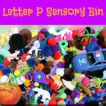 "Letter P Sensory Bin - This pom pom based sensory bin has it all penguins, pigs, pandas and other items beginning with letter ""P""."