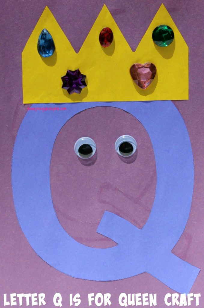 Letter Q is for Queen and Quail Craft is a fun letter a craft making a queen out of a large capital letter Q and a quail out of a large lowercase letter q with directions and free printables too.