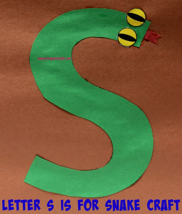 Letter S is for Snowman and Snake Craft is a fun letter a craft making a snowman out of a large capital letter S and a snake out of a large lowercase letter s with directions and free printables too.