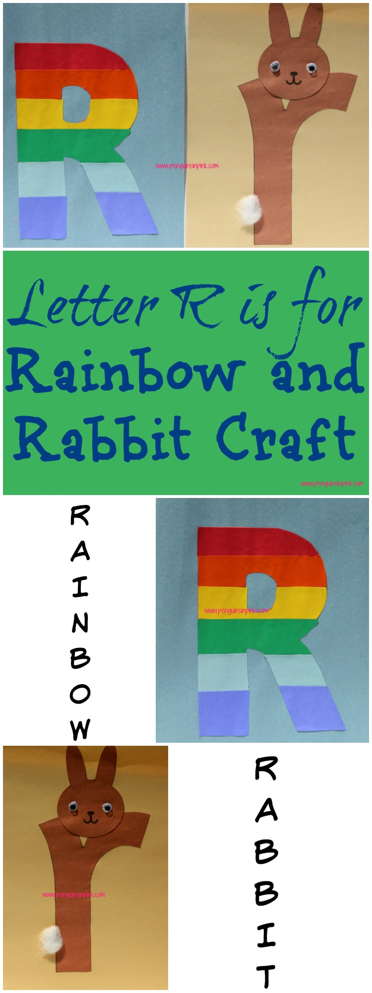 Letter R is for Rainbow and Rabbit Craft is a fun letter a craft making a rainbow out of a large capital letter R and a rabbit out of a large lowercase letter r with directions and free printables too.