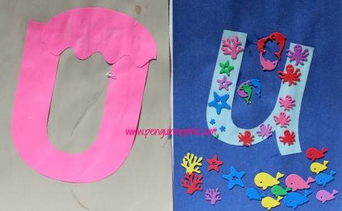 Letter U is for Umbrella and Underwater Craft is a fun letter a craft making an umbrella out of a large capital letter U and an underwater landscape out of a large lowercase letter u with directions and free printables too.