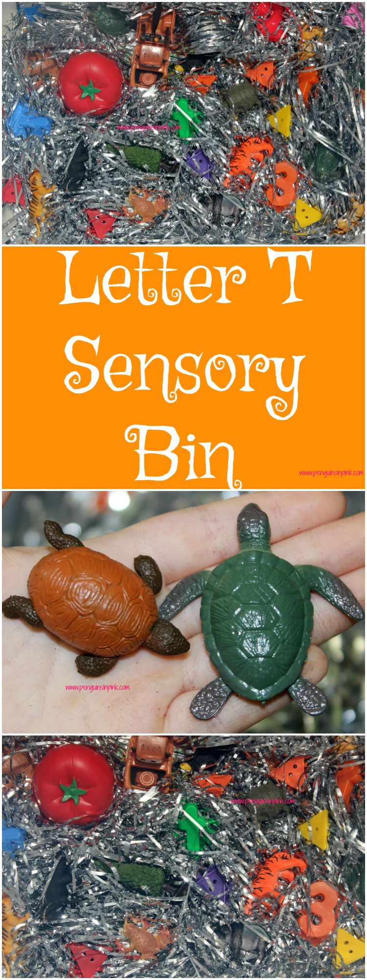 "Letter T Sensory Bin - This tinsel based sensory bin has it all tigers, triangles, toads, and other items beginning with the letter ""T""."
