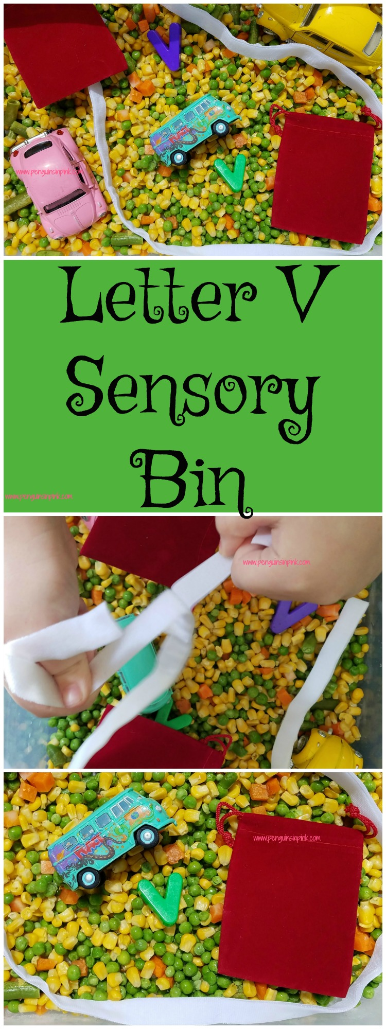 "Letter V Sensory Bin - This vegetable based sensory bin has it all Velcro strips, velvet bags, and other items beginning with the letter ""V""."