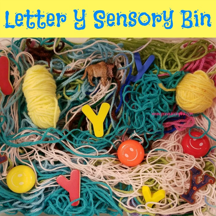 "Letter Y Sensory Bin - This yarn based sensory bin has yo-yo's, yaks, and other items beginning with the letter ""Y""."