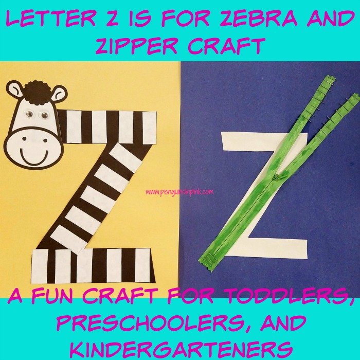 Letter Z is for Zebra and Zipper Craft is a fun letter a craft making a zebra out of a large capital letter Z and a zipper covered large lowercase letter z with directions and free printables too.