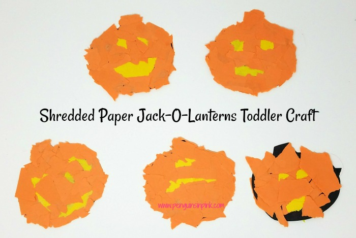 Shredded Paper Bats and Jack-O-Lanterns Toddler Craft is a fun craft making Bats and Jack-O-Lanterns out of shredded paper and are a fun way to work on fine motor skills. Printable included.