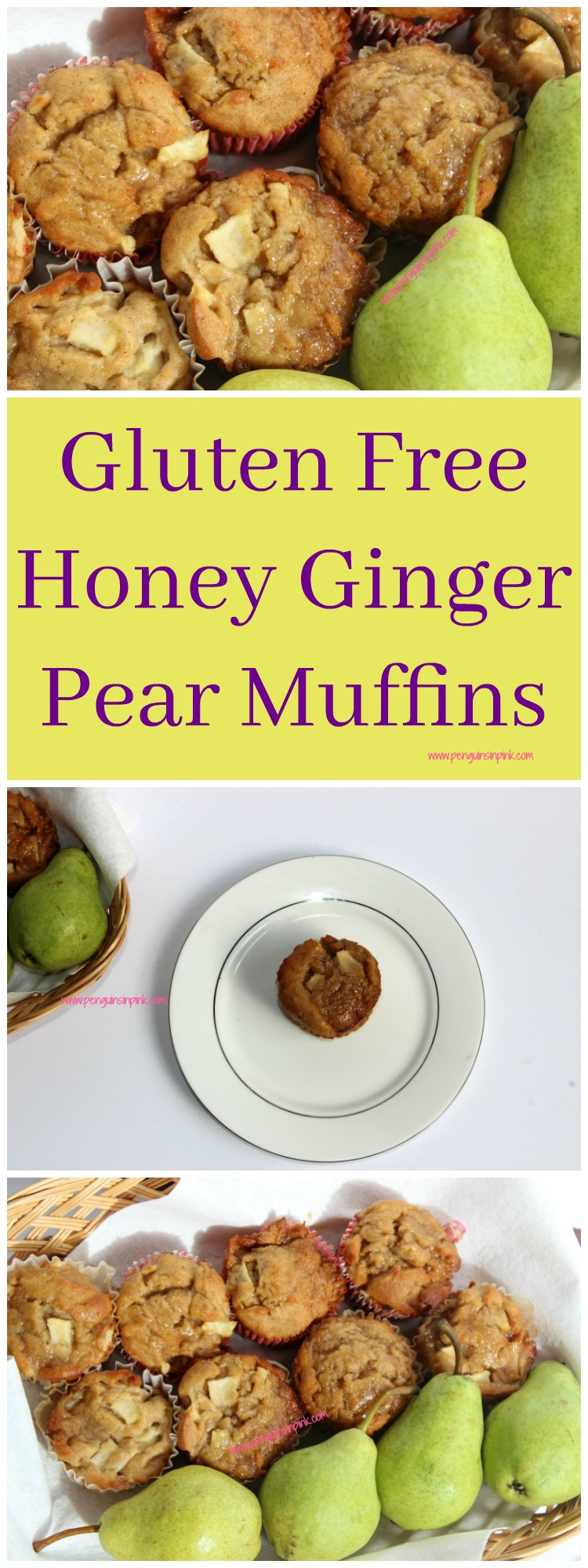 Gluten Free Honey Ginger Pear Muffins - Spicy ginger and sweet honey combine to make a delectable muffin topped with a ginger and brown sugar crumble