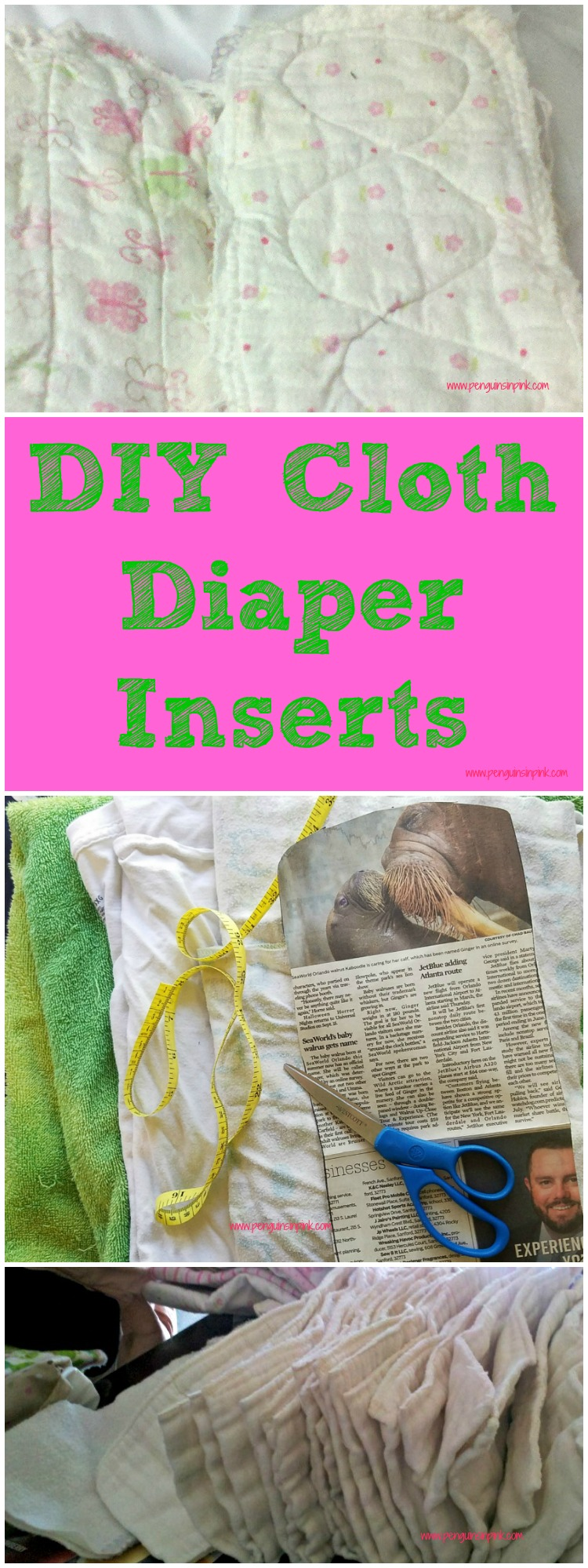 DIY cloth diaper inserts are a simple and functional sewing project to make. The cloth diaper inserts can be made out of a variety of materials including receiving blankets, t-shirts, and towels.